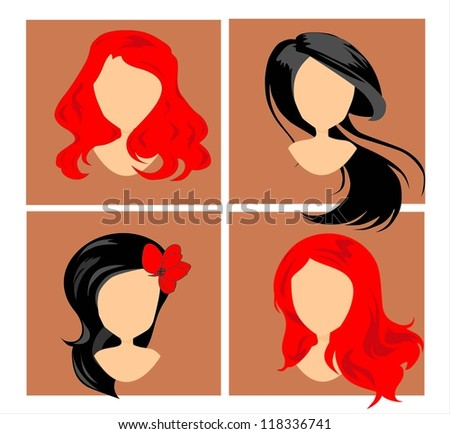 wigs on mannequins - stock vector