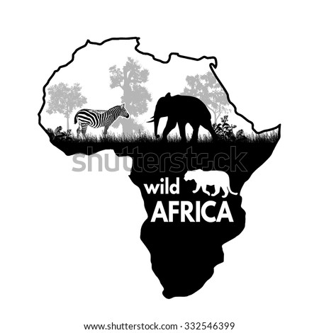 Wild african animals silhouettes on the map of Africa on white, vector illustration - stock vector