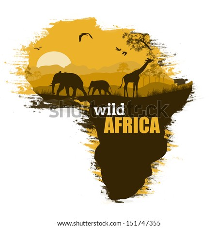 Wild african animals silhouettes on the map of Africa, with space for your text, vector illustration - stock vector