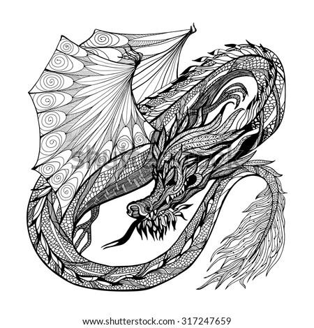 Wild ancient black sketch dragon with decorative ornament vector illustration - stock vector
