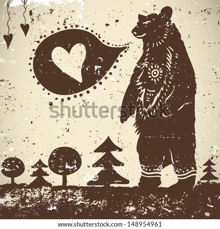 Wild animal background Bear on a grunge background with a heart - stock vector