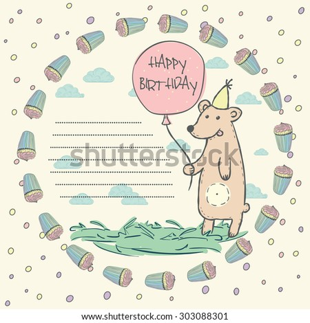 Wild animal brown bear with pink balloon, grass, clouds, cap in a wreath of birthday cupcakes for invitation, birthday cards  with space for text Vector illustration eps10 - stock vector