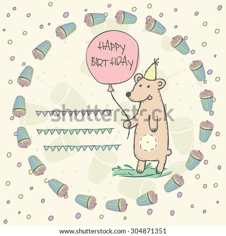 Wild animal brown bear with pink balloon, grass, garlands, cap in a wreath of birthday cupcakes for invitation, birthday cards with space for text Vector illustration eps10 - stock vector
