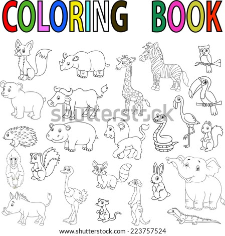 Wild animal coloring book stock vector 223757524 shutterstock