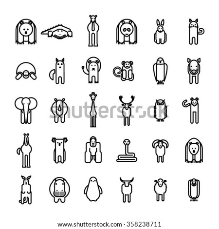 Wild animal icons set on white background/ Animals Vector illustration / Simple Design Animals - stock vector