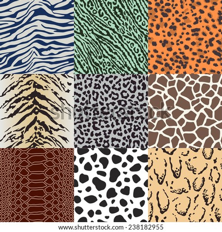 wild animal skin fabric pattern - stock vector