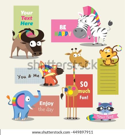 wild animal zoo template vector cartoon stock vector royalty free
