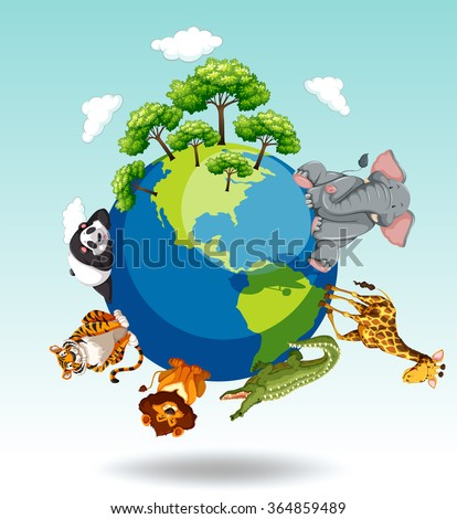 Wild animals around the world illustration