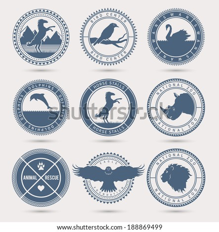 Wild animals badges. EPS10. - stock vector