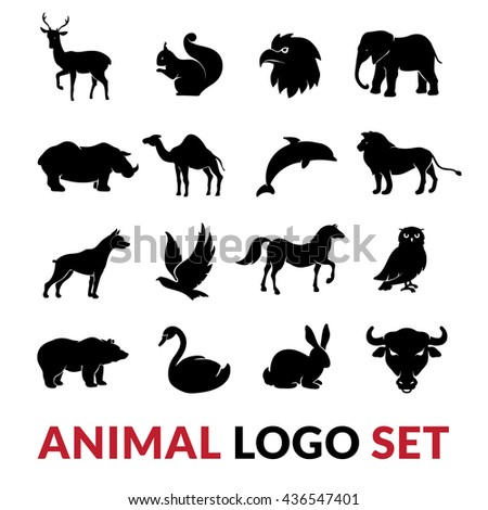 Wild animals black silhouettes logo icons set with lion elephant swan squirrel and camel vector isolated illustration  - stock vector