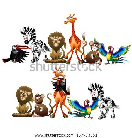 Wild Animals Cartoon - stock vector
