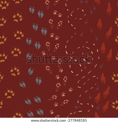 Wild Animals Footsteps Paths Seamless Vector Patter - stock vector