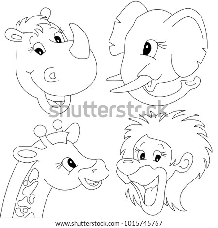 Wild Animals Head Elements Set Collection Stock Vector 1015745767 ...