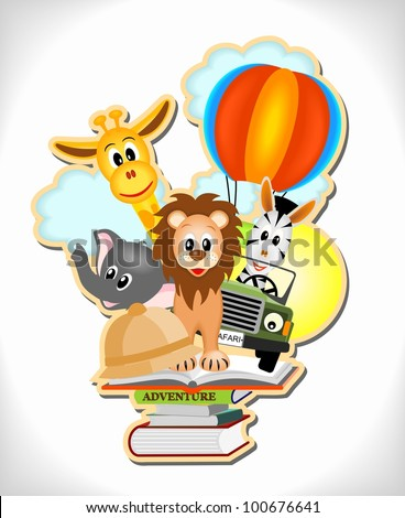 wild animals, hot air balloon and car with adventure books - stock vector