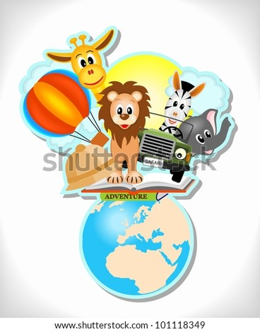 wild animals, hot air balloon, book and car with earth - stock vector