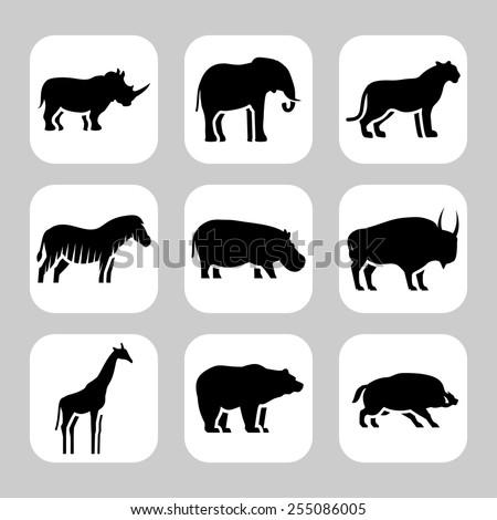 Wild animals icon - stock vector