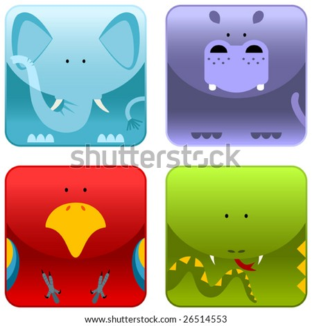 Wild animals icon set 1, elephant, hippopotamus, parrot, snake, vector - stock vector