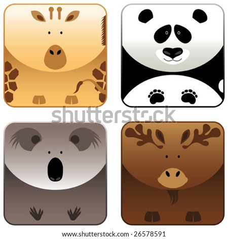 Wild animals icon set 4, vector - stock vector