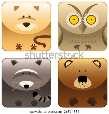 Wild animals icon set 3, weasel, owl, raccoon, bear, vector - stock vector