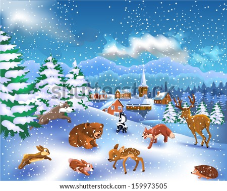wild animals in a winter landscape - stock vector