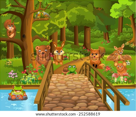 wild animals in the forest and a bridge in the foreground - stock vector