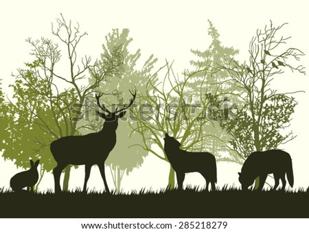 Wild Animals in the Forest Silhouettes - stock vector