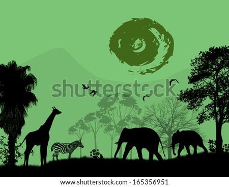 Wild animals over green sunset, vector illustration - stock vector