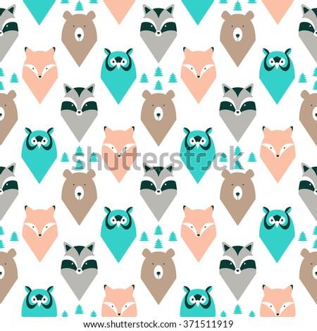 Wild animals seamless pattern. - stock vector