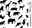 wild animals seamless pattern background - stock photo