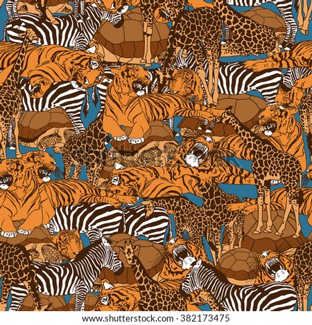 Wild animals seamless pattern. Vector illustration - stock vector