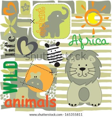 wild animals vector illustration - stock vector