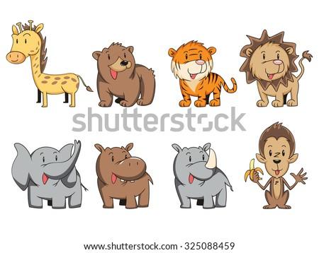 Wild animals, vector set collection - stock vector