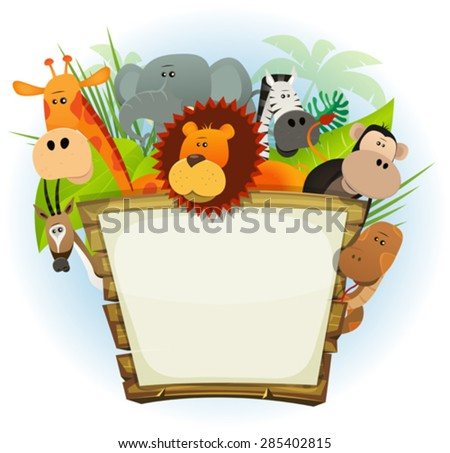 Wild Animals Zoo Wood Sign/ Illustration of a cute cartoon wild animals family from african savannah, including lion, elephant, giraffe, monkey, snake, gazelle and zebra with jungle background - stock vector
