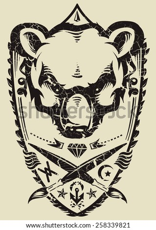 Wild bear - stock vector