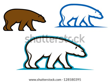 Wild bears emblems and silhouettes for mascot design. Jpeg version also available in gallery - stock vector