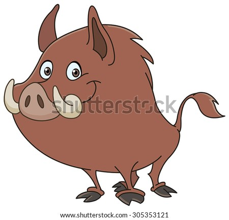 Wild boar or wild pig cartoon - stock vector
