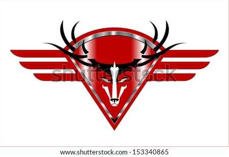 Wild Buck Icon on  the red Metallic winged diamond shield - stock vector