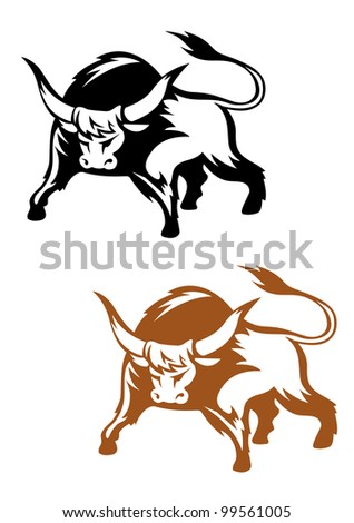 Wild buffalo bull in cartoon style for mascot and emblem design, such  a logo. Jpeg version also available in gallery - stock vector