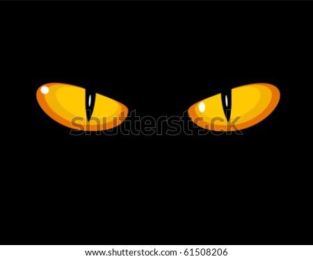 Wild cat eyes in darkness. Vector illustration - stock vector