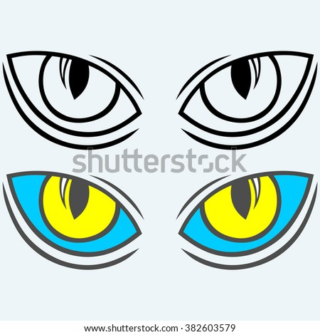 Wild cat eyes. Isolated on blue background. Vector silhouettes - stock vector
