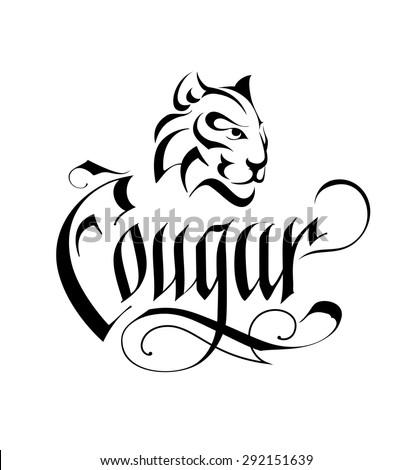 Wild Cat Head Vintage Logo - stock vector