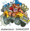 Wild Crazy Redneck In Pickup Truck with Trucker Hat, Red hair, Beard and Bulldog - stock photo