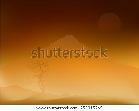 Wild desert nature landscape with three stones and  a mountain in vector. - stock vector