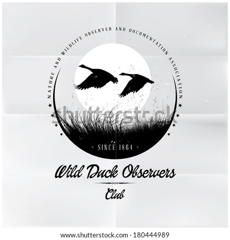 Wild Duck Observers badge - stock vector