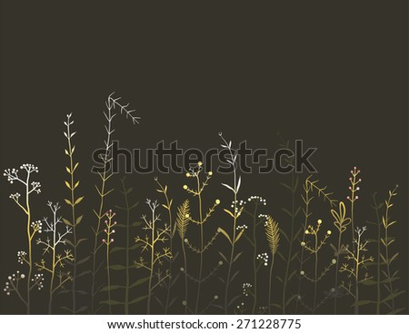Wild Field Flowers and Grass on Black Background. Rustic colorful meadow at night illustration. Vector EPS10. - stock vector
