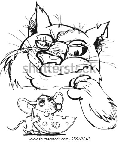 wild fighting cat with a mouse - stock vector