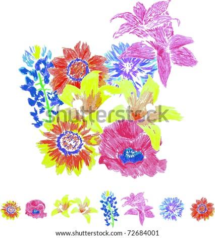 Wild Flower Arrangement - stock vector