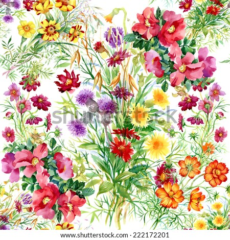 Wild flowers seamless pattern on white background vector illustration - stock vector