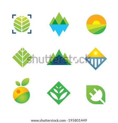 Wild green nature captured energy for future generation icon logo elements - stock vector