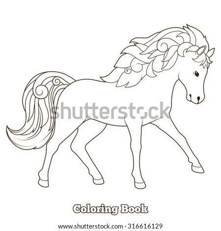 Wild horse coloring book educational game vector illustration, coloring book, educational material, horse, wild, animal, cartoon